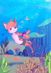 Freediving Cat by chef-cheiro