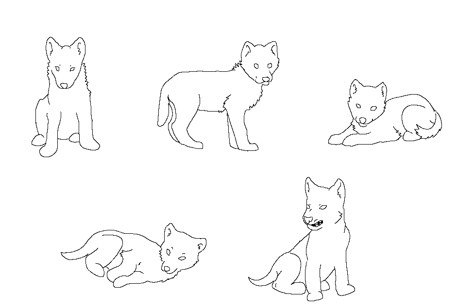 Ms Paint Friendly Free Lineart: Wolf Cubs By HappyDucklings ...