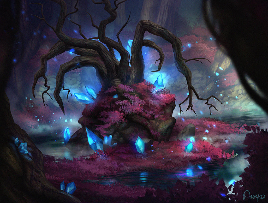 Crystal swamp by anako art on deviantart for Paintings of crystals
