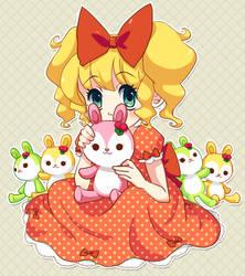 Girl and bunnies by Iris-Zeible