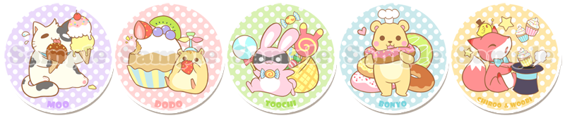 Sugary Squishy Animal Buttons by Iris-Zeible