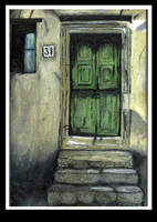 Door - Oil painting by elle-c