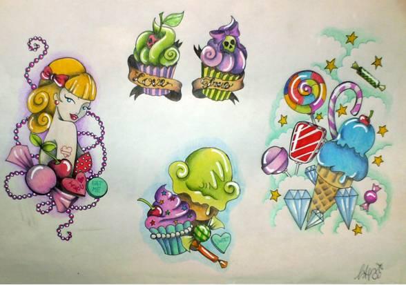 Tattoo Flash #1 sweets by MissAcidDoll on DeviantArt