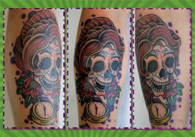 Victorian skull tattoo