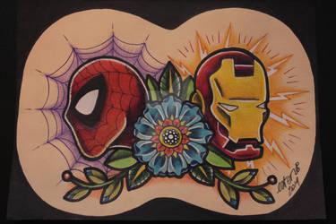 superheroes tattoo flash