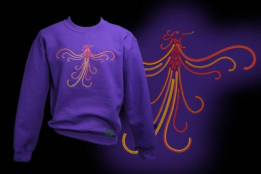 Embroidered Rising Phoenix on Purple Sweatshirt
