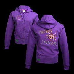 Tribal Spider Embroidery on Purple Hoody