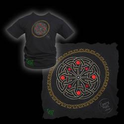 Embroidered Celtic Knotwork Roundel on Black T