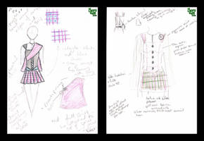 Design Sketches for Pink and Purple Tartan Dress