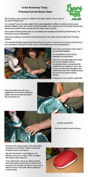 Dressmaking - Pressing Curved Seams Open