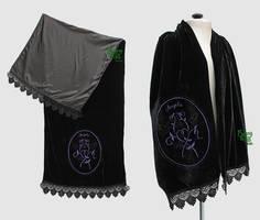 Black silk velvet scarf with custom embroidery