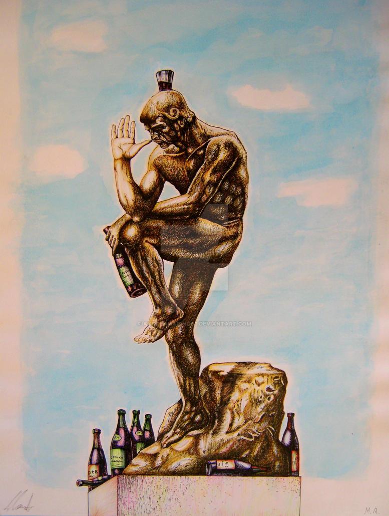 Tribute to Rodin's Thinker, / The Drunkard by ANDREAMARINO93