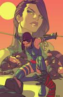 Psylocke vs ninjas by amilcar-pinna