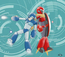 Mega Man and Proto Man by FieryStampede