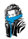 The girl with the blue scarf