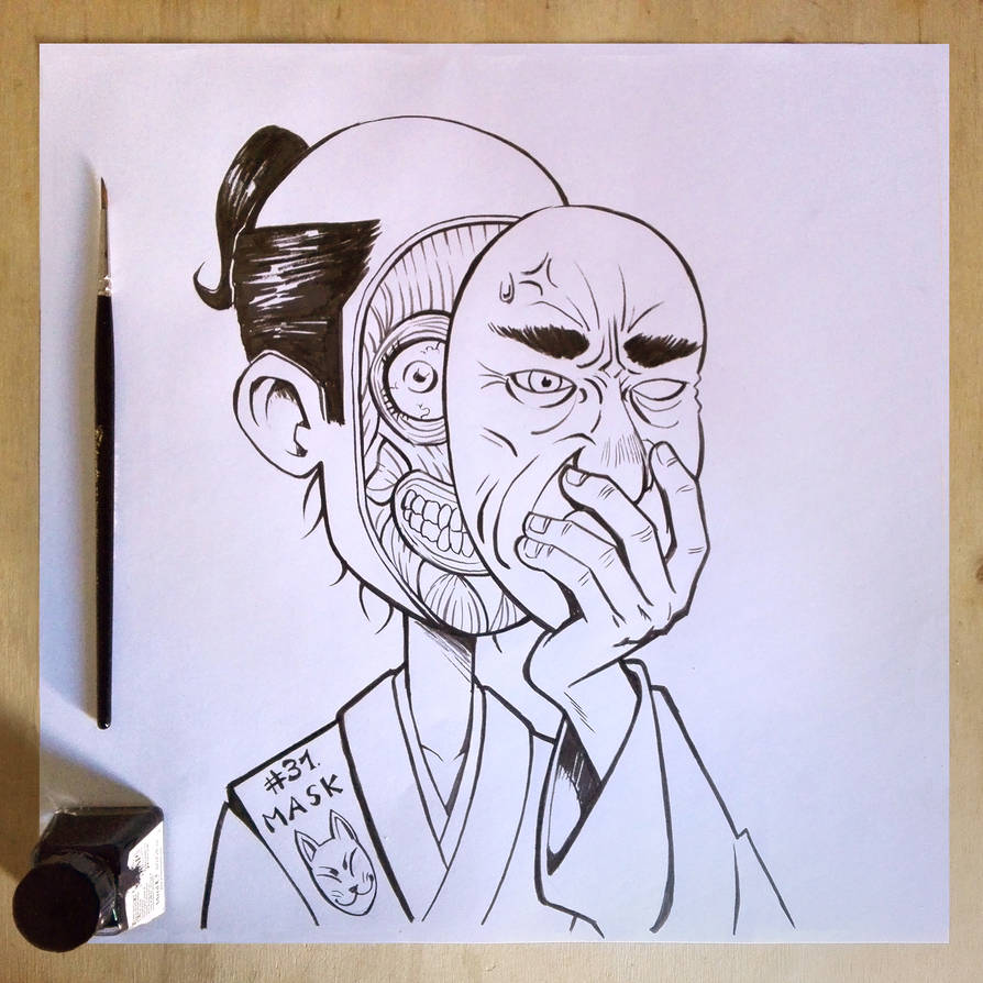 Inktober2017 day31 Mask by Entropician