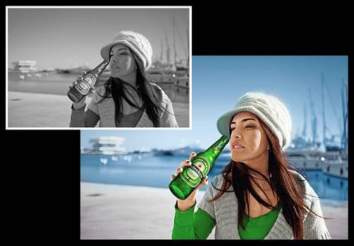 Colorisation noir et blanc - Heineken