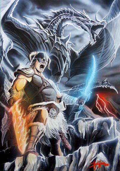Dragonborn Alduin Skyrim by bjunqueira