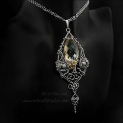 Wire-wrapped, large Swarovski necklace by AnnaMroczek
