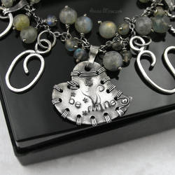 Sterling bracelet, stamped bangle, Labradorite II by AnnaMroczek