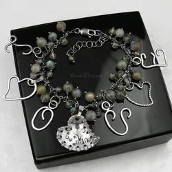 Sterling bracelet, stamped bangle, Labradorite I by AnnaMroczek