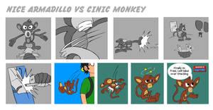 Nice armadillo vs cinic monkey part 2