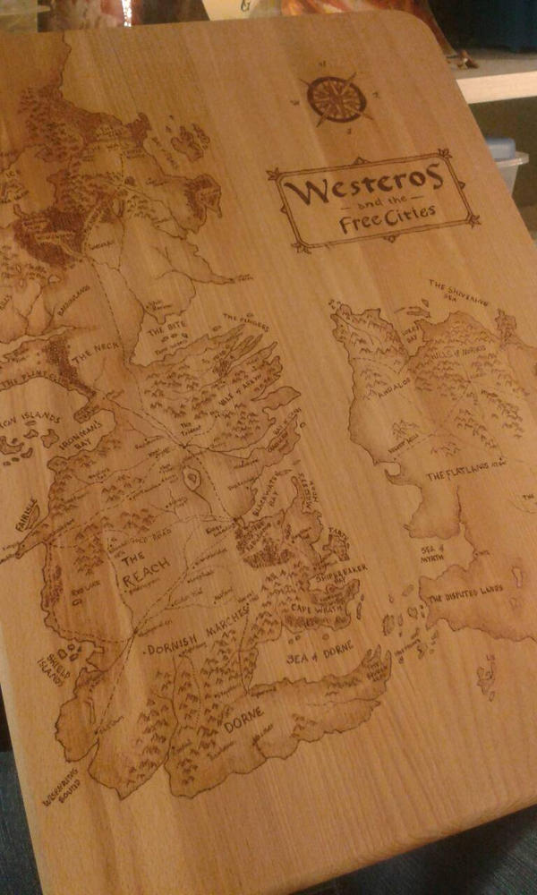 Game Of Thrones Map Woodburning On Cutting Board By Amandamakesart