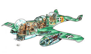 German Jet Fighter cutaway by Frohickey
