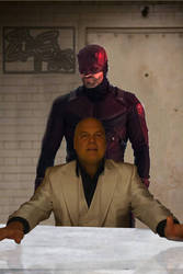 Daredevil and Kingpin (Dark Knight Interrogation) by Jedimasterhulk
