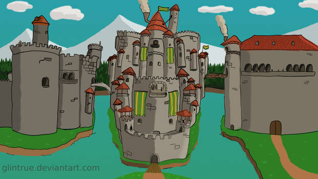 Fantastic Fantasy Castle with red roof tiles