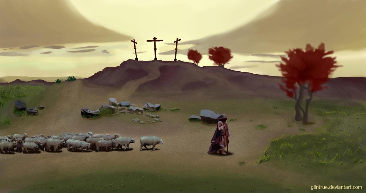 The Shephard at the Cross by GlinTrue