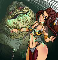 Brigitte Slave and Jabba the Hut (Commission) by dutertex