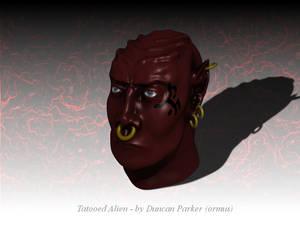 Tatooed alien head