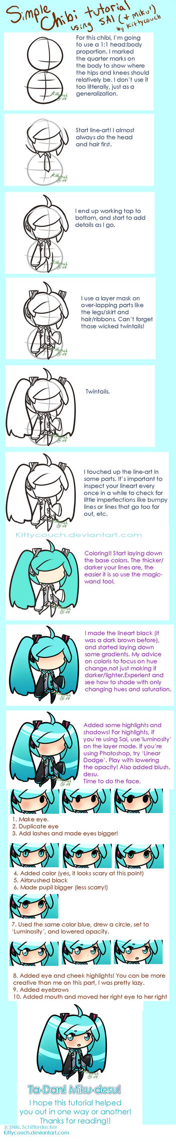 Simple chibi tutorial with Miku! by KittyCouch