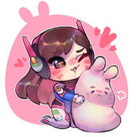 D.Va Chibi + bunny plush by KittyCouch