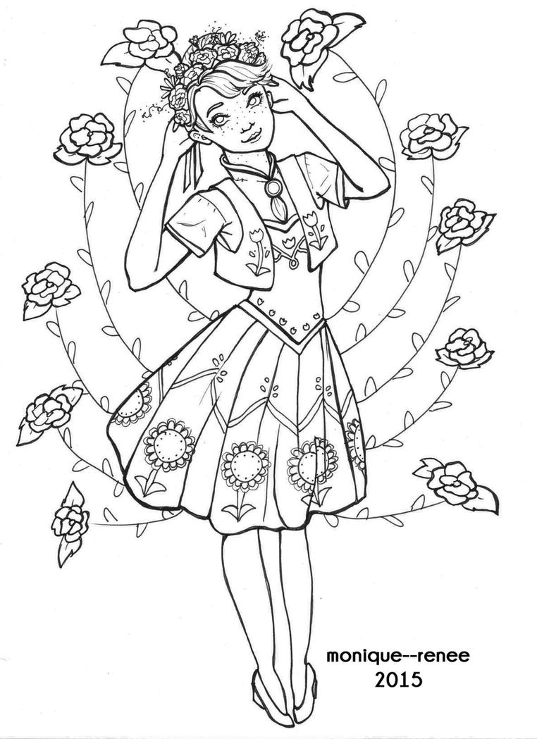 springtime anna coloring page by monique renee