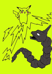 Pikachu Fights Onix With Electric Power