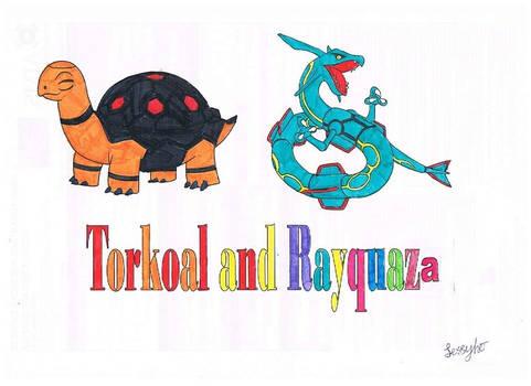 Torkoal and Rayquaza pokemon drawing