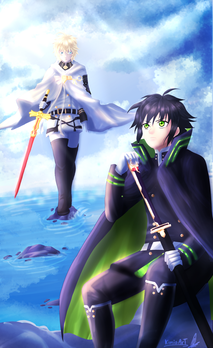 Mika and Yuu - Owari no seraph by KimiaArt
