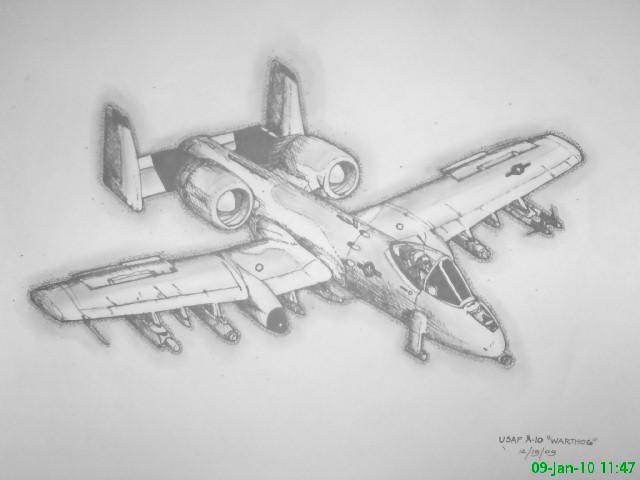A 10 Thunderbolt Drawing A10 Thunderbolt II by ...