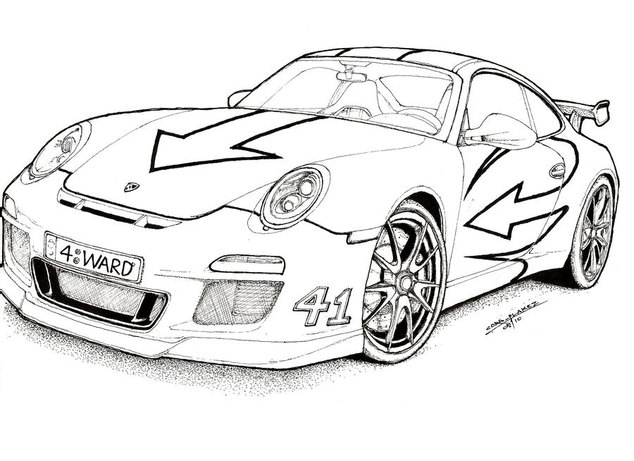 Line Drawing Editor : Porsche drawing outline sketch coloring page