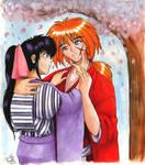 Kaoru and Kenshin in colour
