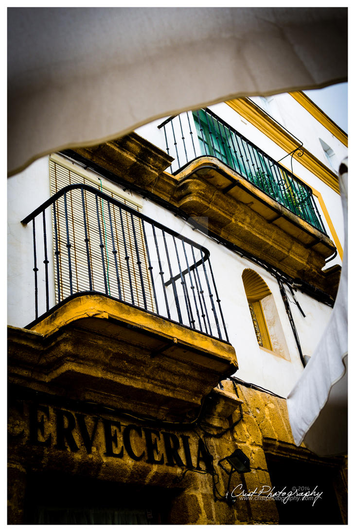 Rota Spain - View Up Street Side Dining by ANNIHILATOR001