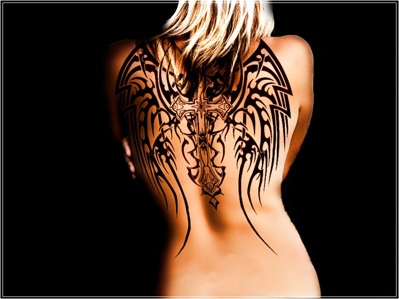Angel cross wings tattoo