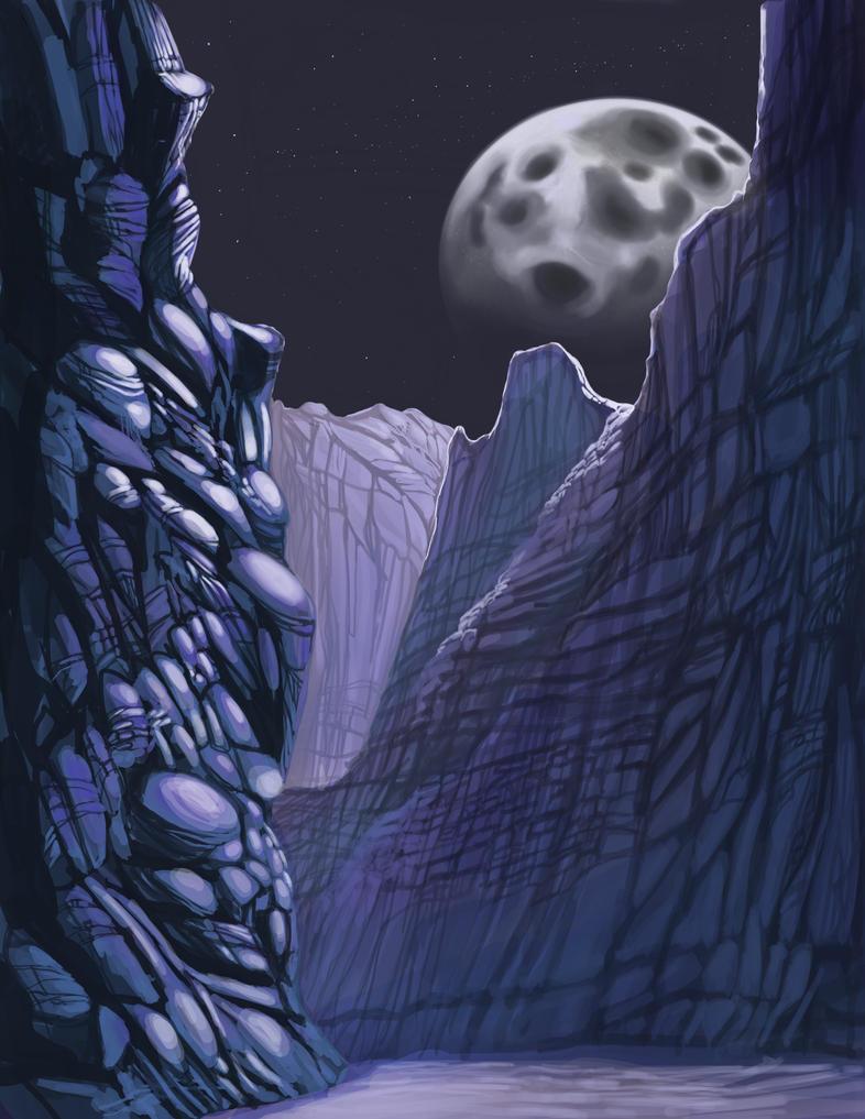 Canyon Nighttime by InspiredDragons