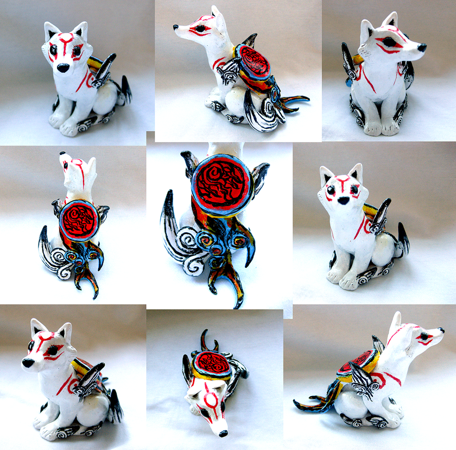 Okami Amaterasu Sculpture w/ Solar Flare. SOLD by Magickie