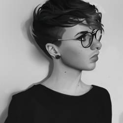 Profile portrait study by Amethylia
