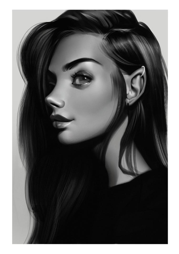 Amalie Shou stylized study by Amethylia