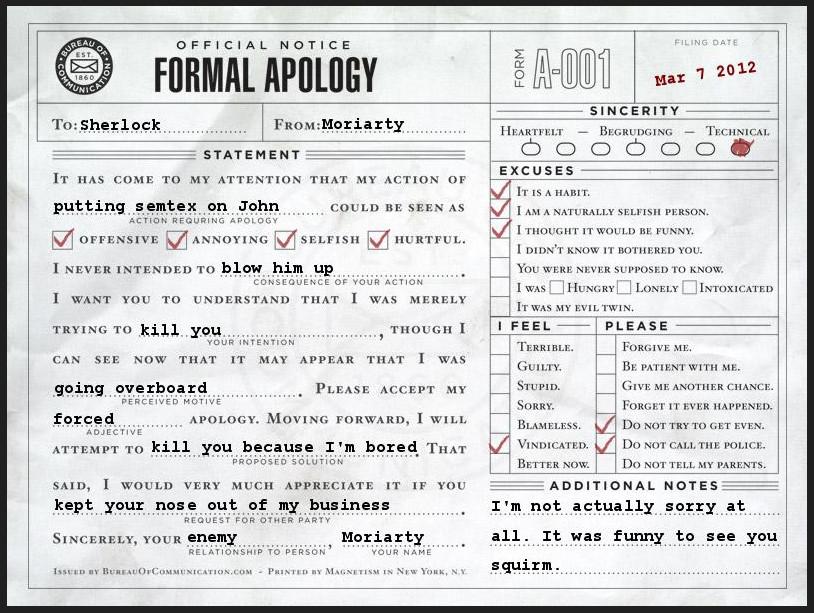 Moriartys Apology To Sherlocksort Of By Jaderotaski