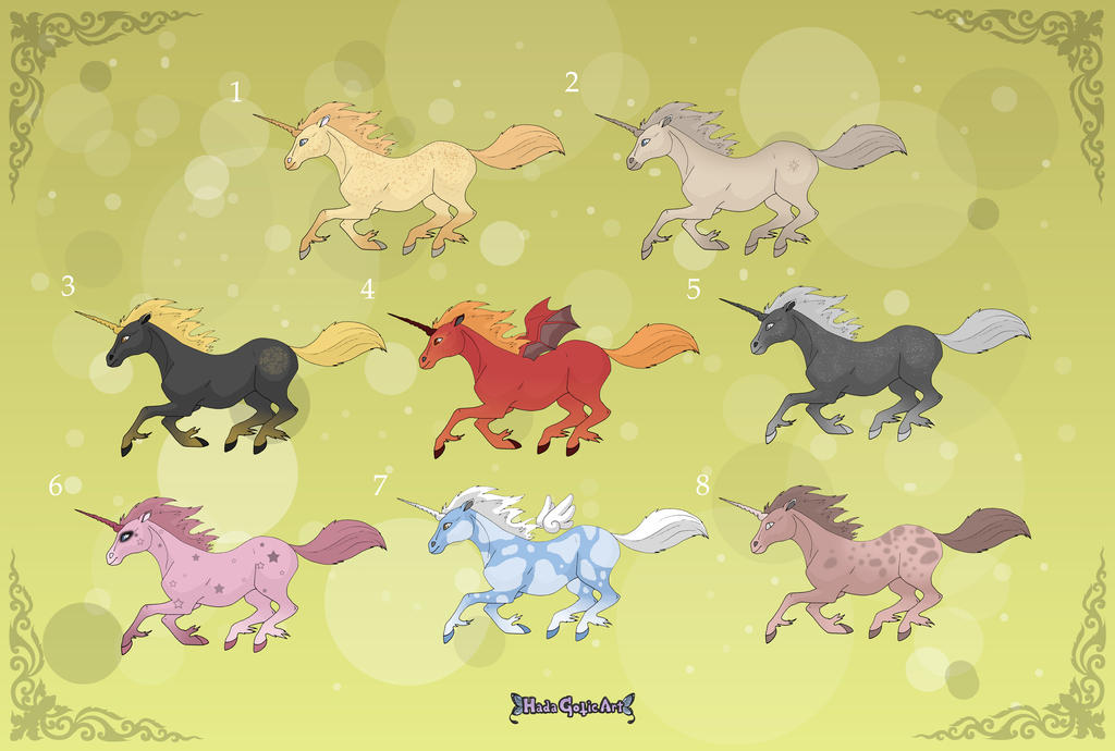 Adoptables: Unicorns 2 by MySweetQueen